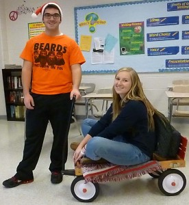 Cj Hartung granted Tori Merritt's wish of going from class to class in a wagon.