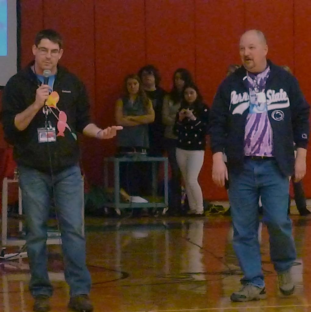 Mr. Kusniez and Bob Wagner speaking to students about the importance of Mini-THON.