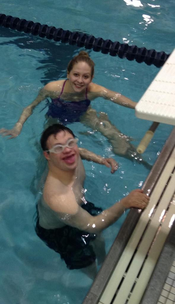 Brandywine Heights Senior Shelby Freed and her swim buddy at the Boyertown YMCA