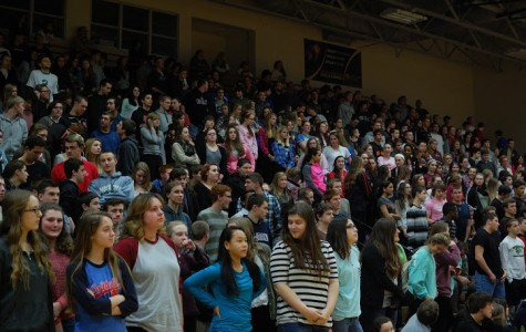 Anyone who knew someone with cancer was asked to stand at the MiniTHON Pep Rally.