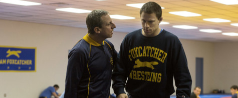 Steve Carell (left) and Channing Tatum (right) in Foxcatcher.