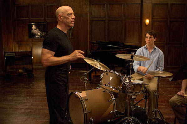 J.K Simmons (left) and Miles Teller (right) in Whiplash.