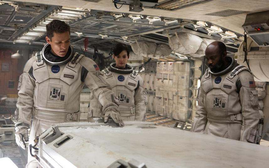 From left to right: Matthew McConaughey, Anne Hathaway, and David Gyasi in Interstellar.