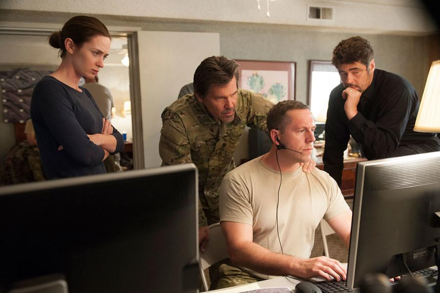 (From left to right) Emily Blunt, John Brolin and Benicio Del Toro in Sicario.