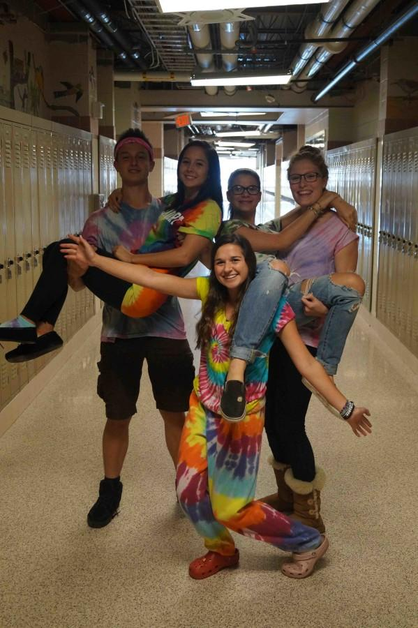 Students celebrate Tie-Dye Tuesday, one of the more popular spirit days