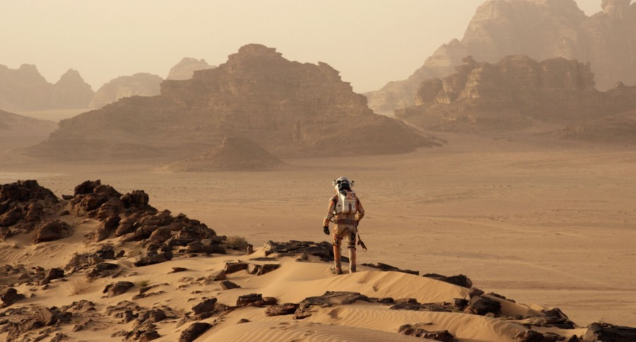Matt Damon stuck on Mars in The Martian.