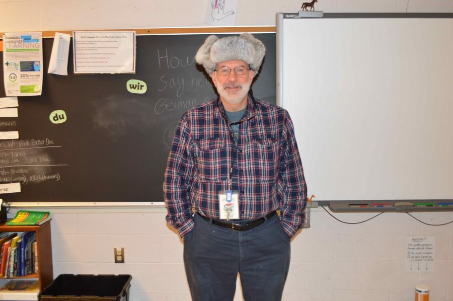 Mr. Orehotsky in a Russian hat, one of a few  he has acquired on travels around the world.