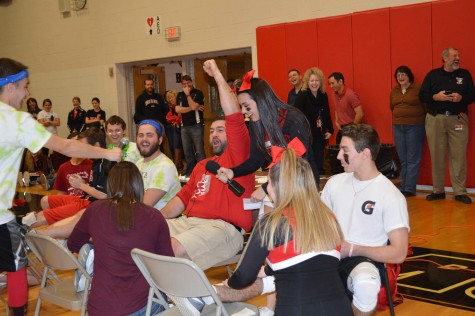 Assistant Principal Mr. Maoury endures a leg waxing from the cheerleaders