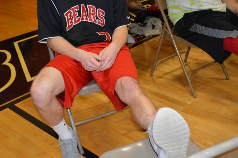 Junior Mike Ranieri gets his legs shaved after raising the most money for cancer in his grade
