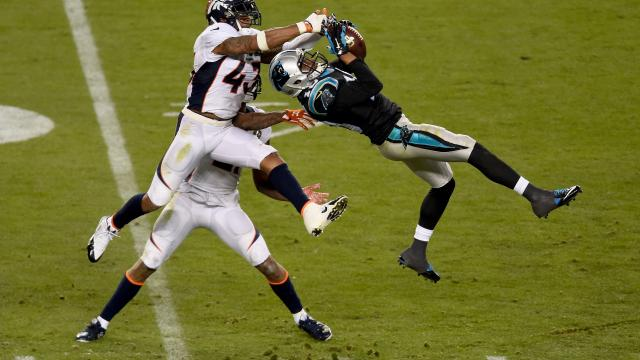"""Corey """"Philly"""" Brown was concussed on this play in the 3rd quarter, and he could not return to the game because of league protocol."""