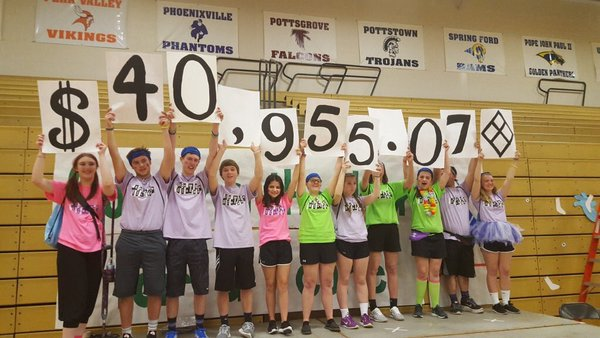 Mini-THON organizers hold up a sign showing the school exceeded its fundraising goal of $40,000.