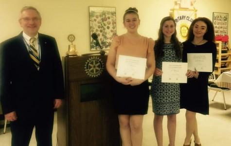 Alexis Zilen, Amanda Murray and Olivia Foster were winners of Rotary Club Speech Awards.