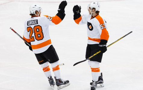 11 DEC 2015: Philadelphia Flyers Defenceman Shayne Gostisbehere (53) [9358] celebrates his goal with Center Claude Giroux (28) [5703] during the NHL game between the Philadelphia Flyers and the Dallas Stars at the American Airlines Center in Dallas, TX.  (Photo by Andrew Dieb/Icon Sportswire)