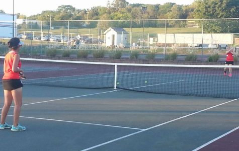 Seniors Devanshi Agnihotri and Rachel Moyer practice after a match at Pottsgrove.