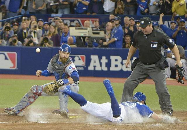 A throwing error allowed Josh Donaldson to score and win the series for the Toronto Blue Jays.