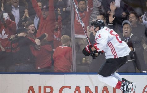 Brad Marchand from Team Canada scores the game-winning goal in the championship game of the World Cup of Hockey.