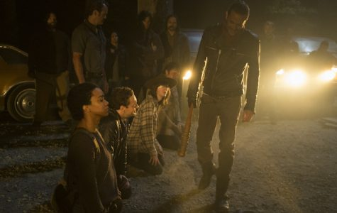 >>> NOT TO BE USED UNTIL 10/24/16 at 1:00 AM EST <<< Jeffrey Dean Morgan as Negan, Sonequa Martin-Green as Sasha Williams, Ross Marquand as Aaron, Chandler Riggs as Carl Grimes, Josh McDermitt as Dr. Eugene Porter- The Walking Dead _ Season 7, Episode 1 - Photo Credit: Gene Page/AMC