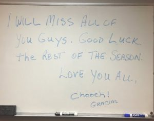 Carlos Ruiz left a message to his teammates on the locker room whiteboard after being traded to the Los Angeles Dodgers.