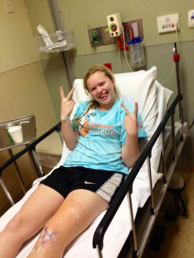 Senior Hailey Hambach in the hospital following her ACL surgery