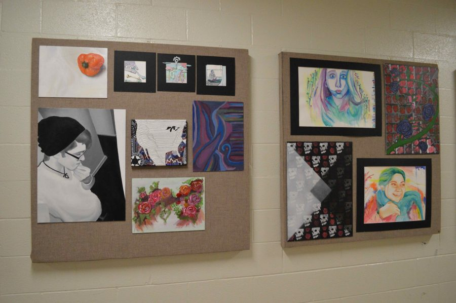 Art students show off their work in the hallways
