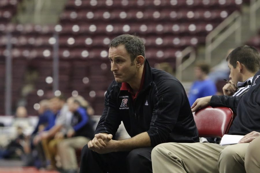 Coach Ventresca looks on at the PIAA Class AAA Duals in Hershey.