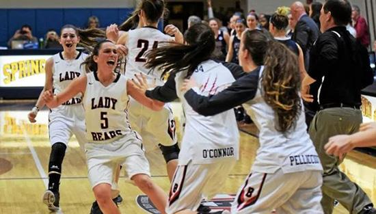 Alli Marcus and the Lady Bears celebrate the team's semi-final victory.