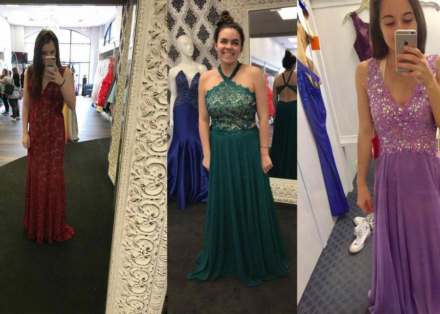 Logan Cwikla, Bradlii Zapata, and Meghan Wilhelm shopped for this year's prom at different stores