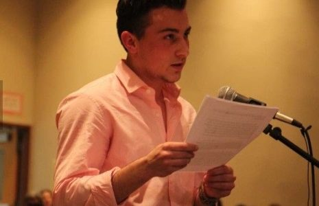 Aidan DeStefano makes a speech at a recent school board meeting about the bathroom policy. The event was covered by many news agencies.