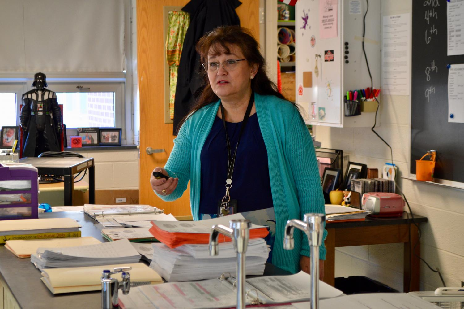 Human physiology + anatomy and biology teacher Mrs. Elizabeth Shumock has taught at BASH for 12 years.