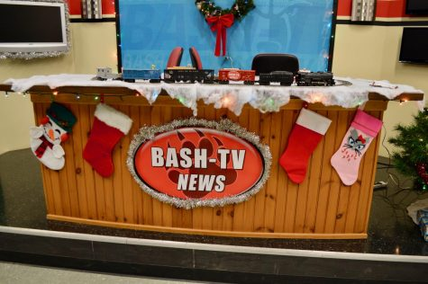 BASH-TV News anchor desk decorated for the holidays