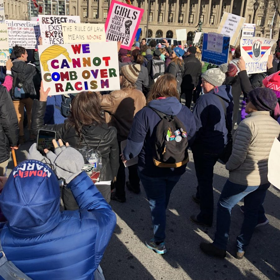 Strong women With posters march down Philly streets