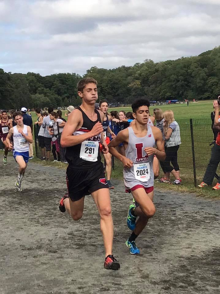 Josh Endy races to the finish in a Cross Country meet.