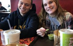 Seniors Jason Carr and Lauren Bingener at California Tortilla on Monday, which was
