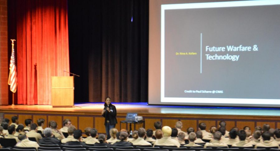 NJROTC cadets hear from a speaker about the future of warfare.