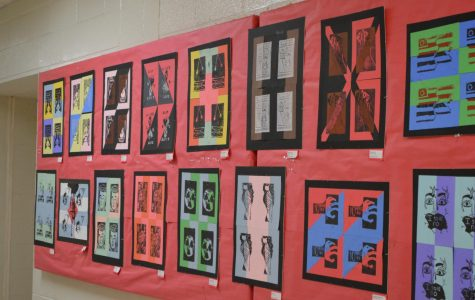 Mixed Media printmaking projects are hanging in the art hallway.