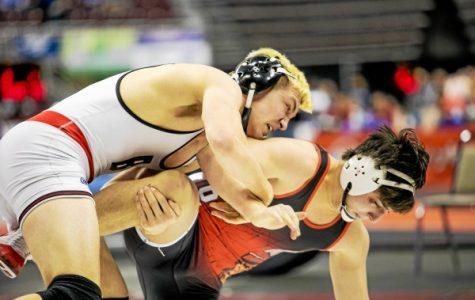 Senior Elijah Jones wrestling in Hershey.