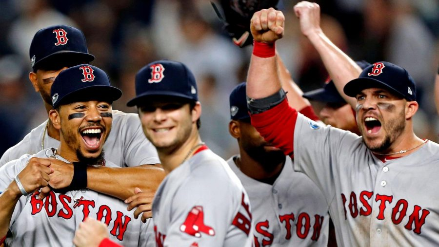 The+Red+Sox+celebrate+winning+the+AL+Pennant+following+their+win+over+the+Houston+Astros+on+Thursday.
