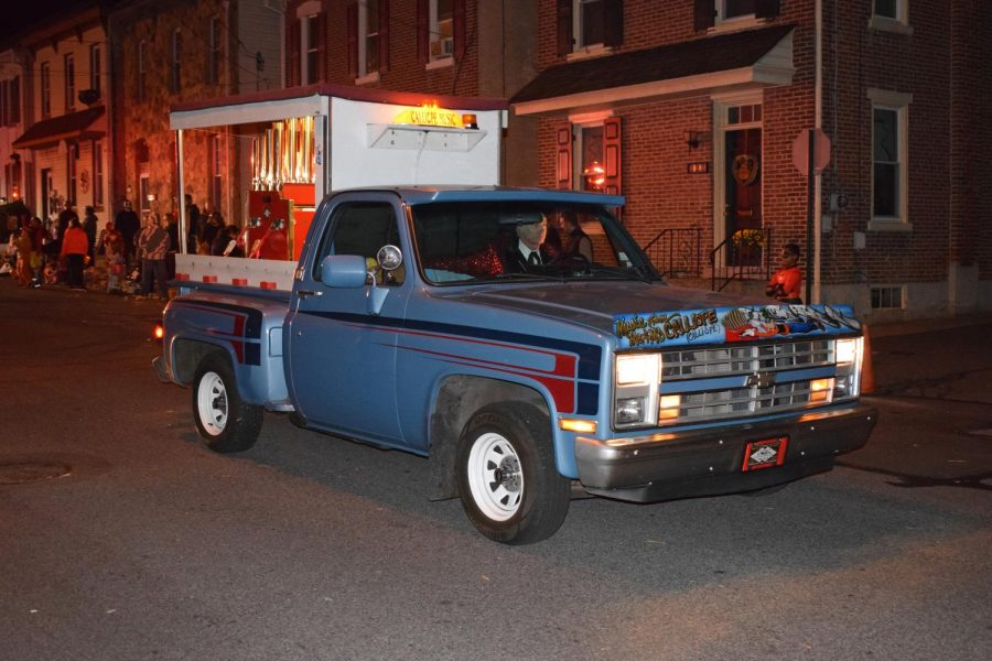 A pickup fitted with a calliope, an automated instrument similar to an organ made up of a collection of different pitched whistles, is the traditional end of the Boyertown Halloween Parade.