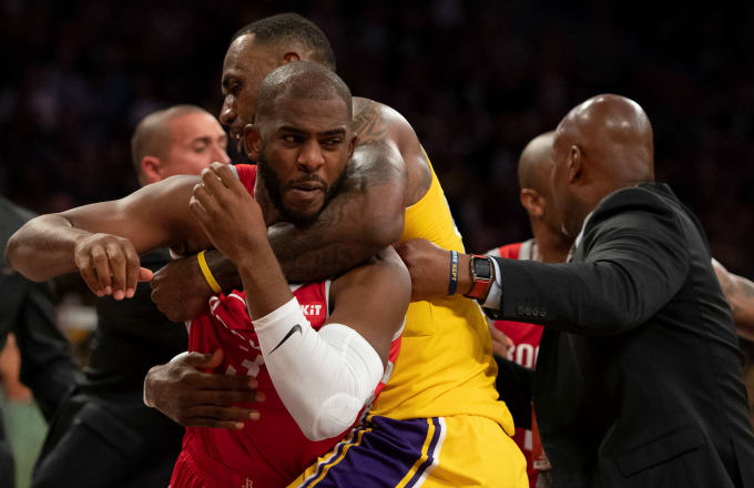 Rockets%27+Chris+Paul+is+restrained+during+the+brawl+between+the+Rockets+and+Lakers+in+the+4th+quarter+as+the+Rockets+would+go+on+to+win+124-115.
