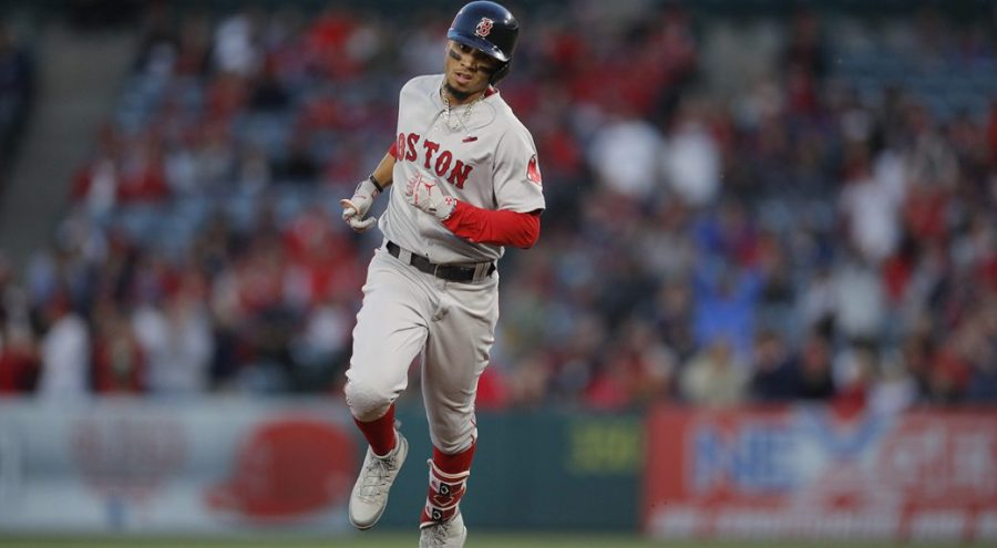 Mookie+Betts+Celebrates+Around+the+Bases+as+Red+Sox+Win+4-2.