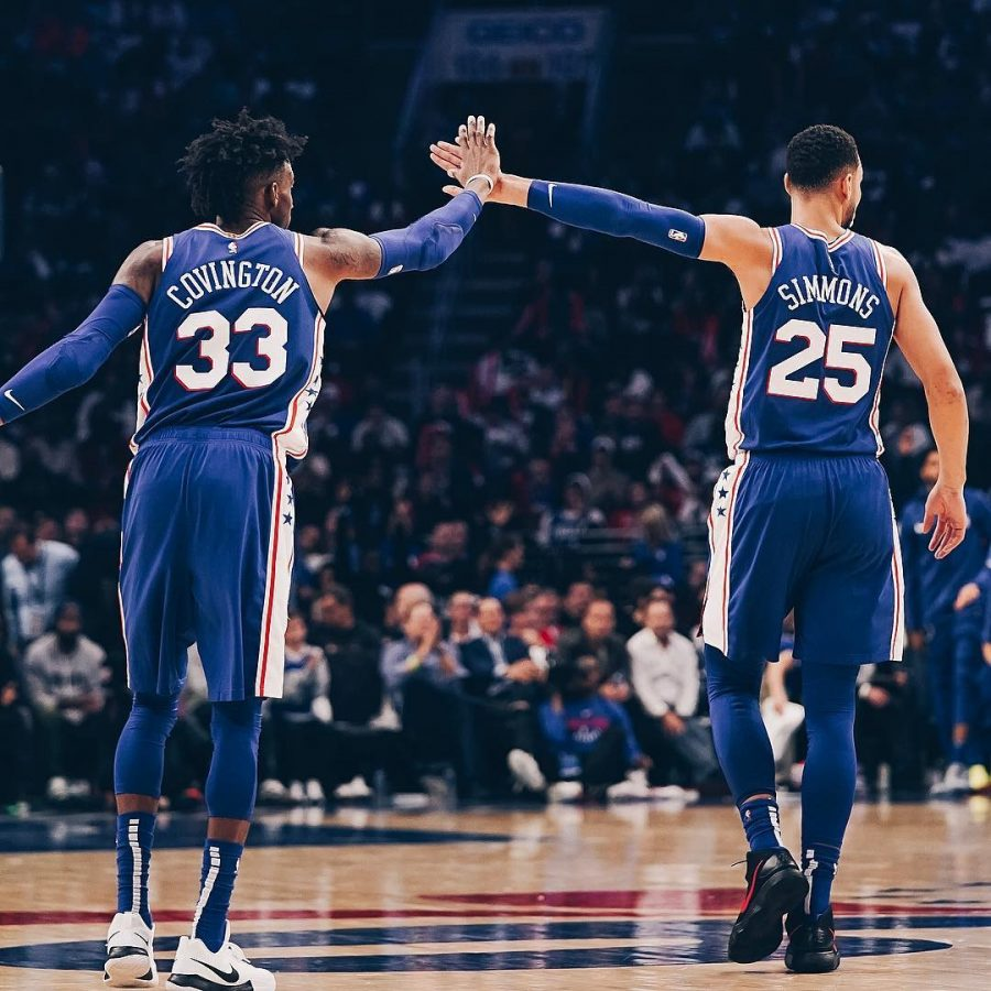 SF+Robert+Covington+drills+3-pointer+to+complete+PG+Ben+Simmons%27+first+triple-double+of+the+season.