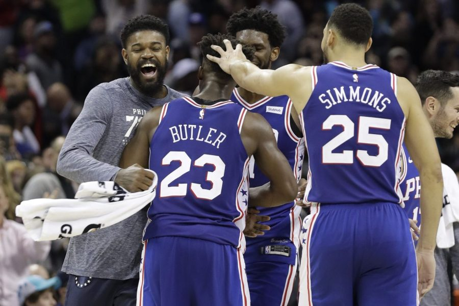 Amir+Johnson%2C+Ben+Simmons%2C+and+JJ+Redick+celebrate+with+Jimmy+Butler+after+he+nailed+the+game-winning+3-pointer+in+Charlotte+on+Saturday.