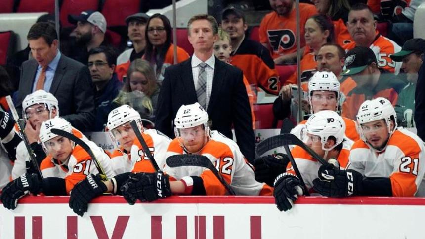 Feb+6%2C+2018%3B+Raleigh%2C+NC%2C+USA%3B++Philadelphia+Flyers+head+coach+Dave+Hakstol+looks+on+from+behind+the+players+bench+against+the+Carolina+Hurricanes+at+PNC+Arena.+The+Philadelphia+Flyers+defeated+the+Carolina+Hurricanes+2-1+in+the+overtime.+Mandatory+Credit%3A+James+Guillory-USA+TODAY+Sports