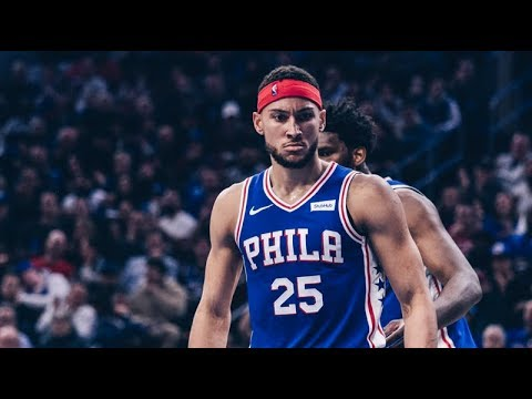 Sixers' PG Ben Simmons stares down the Knicks after throwing down a vicious dunk as the Sixers killed the Knicks 131-109.