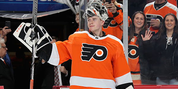 20-year-old Flyers goalie made his debut as the Flyers starter as the Flyers beat the Red Wings 3-2.
