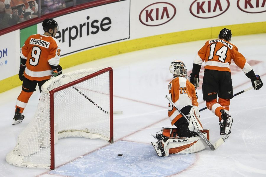 The+Flyers+regroup+following+a+goal+past+Carter+Hart+in-goal.