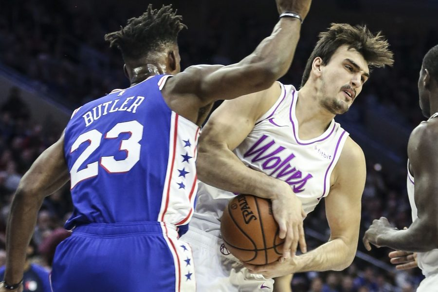 Former+Timberwolves%27+Jimmy+Butler+defends+former+Sixers%27+Dario+Saric+as+the+Sixers+trounced+the+Timberwolves+149-107+on+Tuesday+night.
