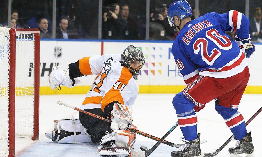 Flyers%27+goalie+Anthony+Stolarz+stops+Rangers%27+Chris+Keider%27s+shot+in+his+shutout+effort%2C+blanking+the+Rangers+1-0.