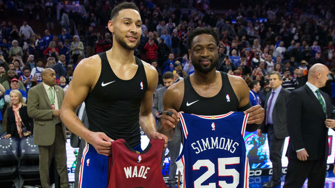 Sixers%27+Ben+Simmons+and+Heat%27s+Dwyane+Wade+exchange+jerseys+after+Wade%27s+final+career+game+in+Philadelphia.
