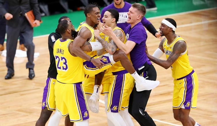 Rajon+Rondo+Lifts+Lakers+To+A+Win+Over+Boston
